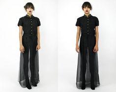 Vintage 90s Black AVANT GARDE Beaded Emboidered by psychopompvtg