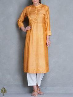 Buy Ochre Silk Cotton Pleated Yoke Kurta by Jaypore Women Tunics & Kurtas… Plain Kurti Designs, Silk Kurti Designs, Kurta Designs Women, Salwar Designs, Blouse Designs, Dress Designs, Indian Attire, Indian Wear, Indian Outfits