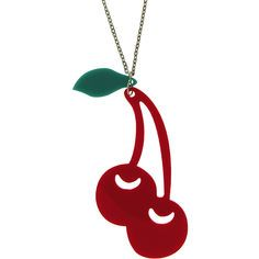 Plexiglass Cherry And Leaf Necklace in Red with Silver Tone finish