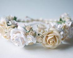 Paper Flower Bridal flower crown headband pink soft by Kamipapa