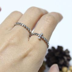 Little Dot Cross Sterling Silver Ring/ Cross Ring/ by rosajuri