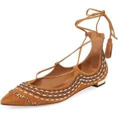 Now $679 - Shop this and similar Aquazzura flats - Pointed-toe flat * Suede upper * Whipstitch trim * Self tie at wrap-around ankle strap * Covered heel * Leath...