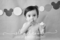 One year old birthday cake smash photography - boy - mickey mouse -  by Heidi Kunz - Island Roots Design - Galveston, TX