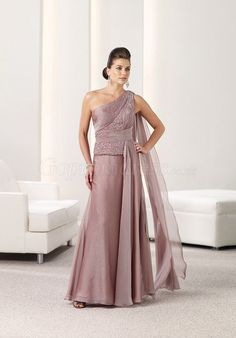 Chiffon One Shoulder Beaded Ruffles pink Mother of the Bride Dress - Gopromdress.co.uk