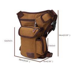 Men Outdoor Canvas Drop Waist Leg Bags Waist Pack Bag Running Belt Bicycle and M - US$13.99