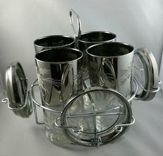 Vintage Highball Glasses in Silver Ombre, Silver Fade Barware Tumblers, 1960s Bar Glass and Caddy Set, MCM Barware, Queens Lusterware by EmptyNestVintage on Etsy