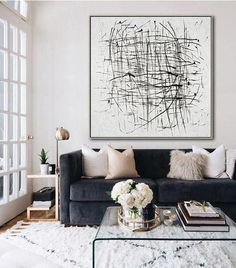 modern living room with navy velvet sofa and modern abstract art, modern glass coffee table decor, in neutral apartment living room, small living room design Cute Dorm Rooms, Cool Rooms, My Living Room, Living Room Decor, Living Area, Bedroom Decor, Wall Decor, Farmhouse Side Table, Rustic Farmhouse
