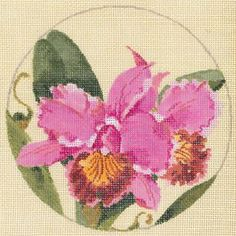 Orchids Product Code: JJL-004 Joy Juarez Hand Painted Eggshell Canvas 18g, 5.5 diameter