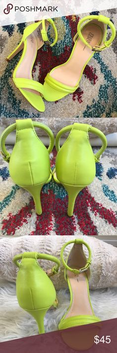 Prabal Gurung Neon Heels Prabal Gurung for Target ✨ Neon yellow heels are  for summer!! Only worn in store, like new!! Size 7 with 3inch heel. No marks or signs of wear, buckle detail has no scratches, ready to wear! No trades, will consider all reasonable offers. Originally $70+tax! Thanks for looking!  Prabal Gurung for Target Shoes Heels