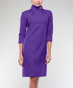 Love this Violet Collar-Detail Three-Quarter Sleeve Dress - Plus Too on #zulily! #zulilyfinds