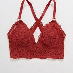Aerie Padded Longline Bralette ($20) ❤ liked on Polyvore featuring intimates, bras, red, red lace bra, longline bras, padded racerback bra, cross back bra and padded bra