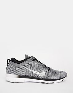 Image 2 of Nike Free TR Flyknit Black White & Grey Trainers