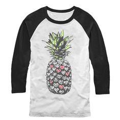 Lost Gods Men's - Heart Pineapple Baseball Tee #FifthSun #lostgods #pineapple #heart