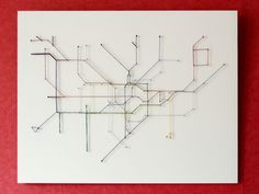 String map 1 - wanna make a string mural for my wall… maybe less linear than . - String map 1 – wanna make a string mural for my wall… maybe less linear than this though. Plan Metro Paris, String Art Diy, London Tube Map, Underground Map, Subway Map, Nyc Subway, Colossal Art, Map Design, Pixel Art