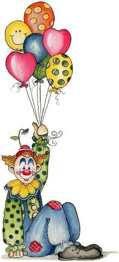 ~ CREATE A CARD ~Clown with balloons card design