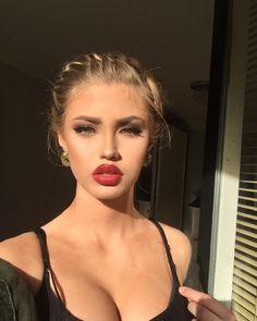 french braids, winged eyeliner, red lips, false lashes, contouring, highlighting, earrings, blonde hair, hairstyle, eye make up,