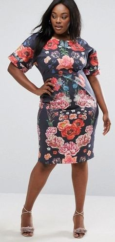 Plus Size Wiggle Dress In Placement Floral Vintage Dresses, Nice Dresses, Dresses For Work, Awesome Dresses, Stylish Outfits, Cute Outfits, Fashion Outfits, Wiggle Dress, Diva Fashion