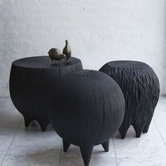 Black fat side tables by Kieran Kinsella http://