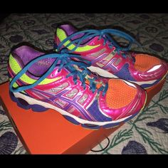 Ascis neon gel sneakers Used condition neon Asics some read show some wear( few scuffs) still have a lot of beauty in them! Don't come with original inserts asics Shoes Sneakers