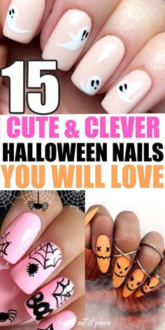 15 Halloween nail designs to go with your Halloween costume that are cute, simple, and clever! Whether you're painting acrylic nails with fun Halloween designs or your own, you'll love these fun, easy, pumpkin, and spooky nails to be part of the best DIY Halloween costume idea for womens.