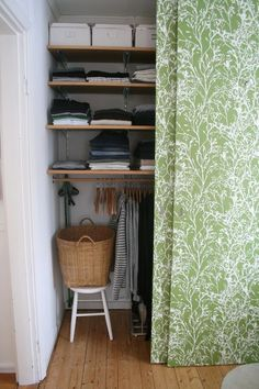 make a closet out of a corner. Love that curtain fabric. Wardrobe Closet, Room Closet, Living Room Inspiration, Interior Inspiration, Small Apartments, Small Spaces, Make A Closet, Closet Curtains, Small Storage