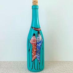 African Art on Wine Bottle. Standard Size Wine bottle, may vary in shape and size. Recycled Glass Bottles, Glass Bottle Crafts, Wine Bottle Art, Decorative Bottles, Bottle Cap Projects, Painted Glass Bottles, Bottle Painting, Bottle Decorations, Decoupage Tutorial