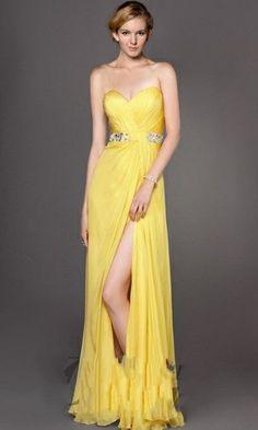 Sweetheart Girdling Yellow Evening Dress with Slit