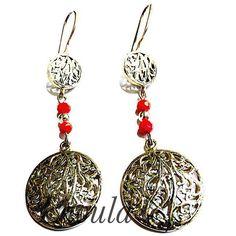 Boucles d'oreilles ethniques en argent, bijoux orientaux en filigrane 267634