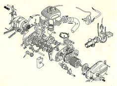 Bultaco engine exploded view by twm1340, via Flickr