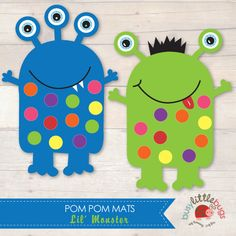 Miss Monster set of pom pom mats by Busy Little Bugs Easy Art For Kids, Fall Crafts For Kids, Kids Crafts, Pom Pom Mat, Pom Poms, Cardboard Crafts, Paper Crafts, Kindergarten Drawing, Monster Decorations