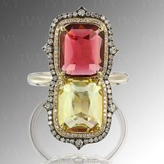 Fall Colors of different shades of Tourmaline #tourmaline #diamonds #gold #ring #ivy #ivynewyork #handcrafted #instagood #yellow #pink #beautiful #oneofakind #oneofakindjewelry www.ivynewyork.com Jewelry Boards, All That Glitters, Gold Ring, Ivy, Fine Jewelry, Diamonds, Shades, Rainbow, Jewels