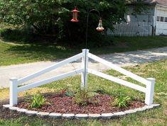 32 Perfect Corner Fence Landscaping Ideas - More DIY Ideas Garden Yard Ideas, Lawn And Garden, Garden Projects, Fence Ideas, Driveway Entrance Landscaping, Landscaping A Slope, Corner Landscaping Ideas, Driveway Ideas, Split Rail Fence