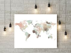 caea0ef0a6a3a0 World map watercolor print Large Travel map Large world map Gift painting  Home Decor Fine art