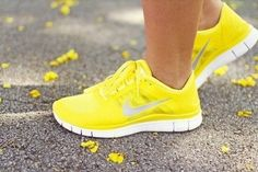 Yellow Nikes? I never knew they made this color! So bright and fun and also you could be easily spotted on night time run.