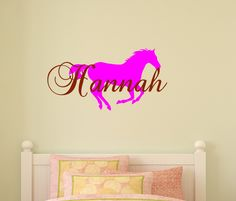 Horse decal, girls bedroom, name decal, teen room, personalized sticker, dorm room, childs name, nursery wall decal, nursery, 16 X 27 inches by aluckyhorseshoe on Etsy