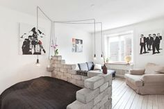 Fake brick wall smack dab in the middle of the living room of a home in Sweden. Photo from Sight. Tiny Spaces, Small Apartments, Small Rooms, Small Space Living, Living Spaces, Interior Design Living Room, Living Room Designs, Kitchen Interior, Fake Brick Wall