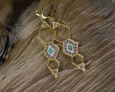 Boho Chic Earrings Gold Hexagon Earrings Himmeli Inspired