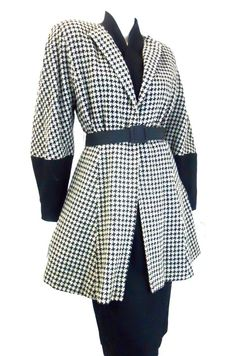 1950s New Look black and white Houndstooth wool coat
