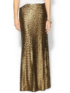 Definitely need a gold sequin maxi skirt in my closet!