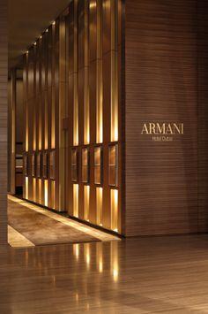 Excellent Armani Hotel Dubai Regarded As Cool Architectural Building : Beautiful Ambience Armani Hotel Interior Entrance Lighting Ideas