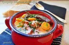 Gesztenye receptjei: Burgonya krémleves csirkemájjal Thai Red Curry, Ethnic Recipes, Food, Diet, Essen, Meals, Yemek, Eten