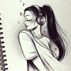 C-Cassandra Character Design Amazing Drawings, Beautiful Drawings, Amazing Art, Music Drawings, Art Drawings Sketches, Sketches Of Girls, Girl Sketch, Cute Drawings Of Girls, Sketch Pad