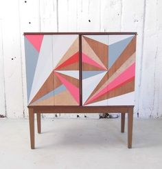 Geometric Painted Drinks Cabinet