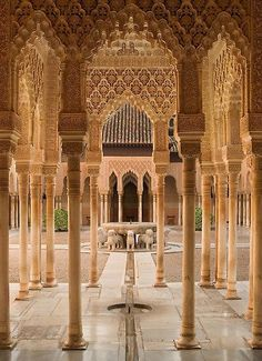 Plaza de Leones at Alhambra Palace / Granada, Spain