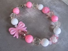 Chunky little girl necklace in shades of pink by PaigeandPenelope, $19.00