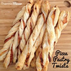 These are so quick and easy to make for a last minute BBQ or party snack.I have used store bought pastry for these but you can certainly use a tmx puff pastry recipe. There is one in your EDC of Basic Cookbook. Savory Snacks, Quick Snacks, Pizza Twists, Pizza Pastry, Cheese Straws, Puff Pastry Recipes, Cold Meals, Party Snacks, Recipes