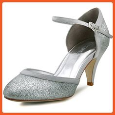 ElegantPark HC1510 Women Closed Toe Ankle Straps Glitter Wedding Evening Party Shoes Silver US 7 - Pumps for women (*Amazon Partner-Link)