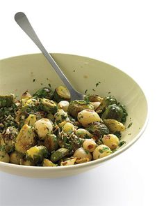 Roasted Brussels Sprouts with Sunflower Seeds - They may be tiny, but sunflower seeds pack a powerful nutritional punch, Wholeliving.com