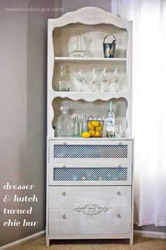 dresser and hutch turned chic bar- this is genious! Create a faux drawer for tall bottle storage, create faux antique detailing, and completely transform ugly items into a gorgeous piece @Courtney O'Dell.com !