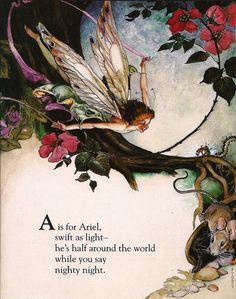 'The Fairy Alphabet' book illustration by F. Fairy Dust, Fairy Land, Fairy Tales, Fantasy Kunst, Fantasy Art, Illustrations, Illustration Art, Elves And Fairies, Vintage Fairies